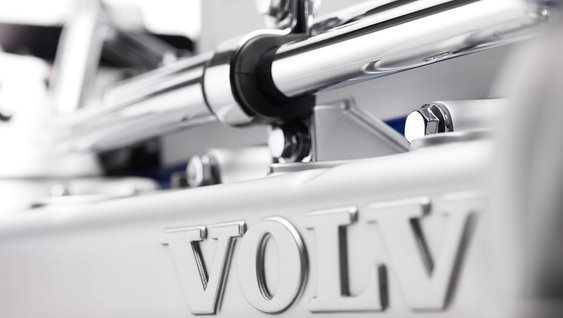 Close-up van Volvo D13 Euro 6-motor