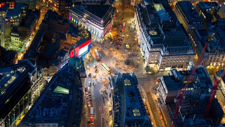 Piccadilly Circus, hartje London.