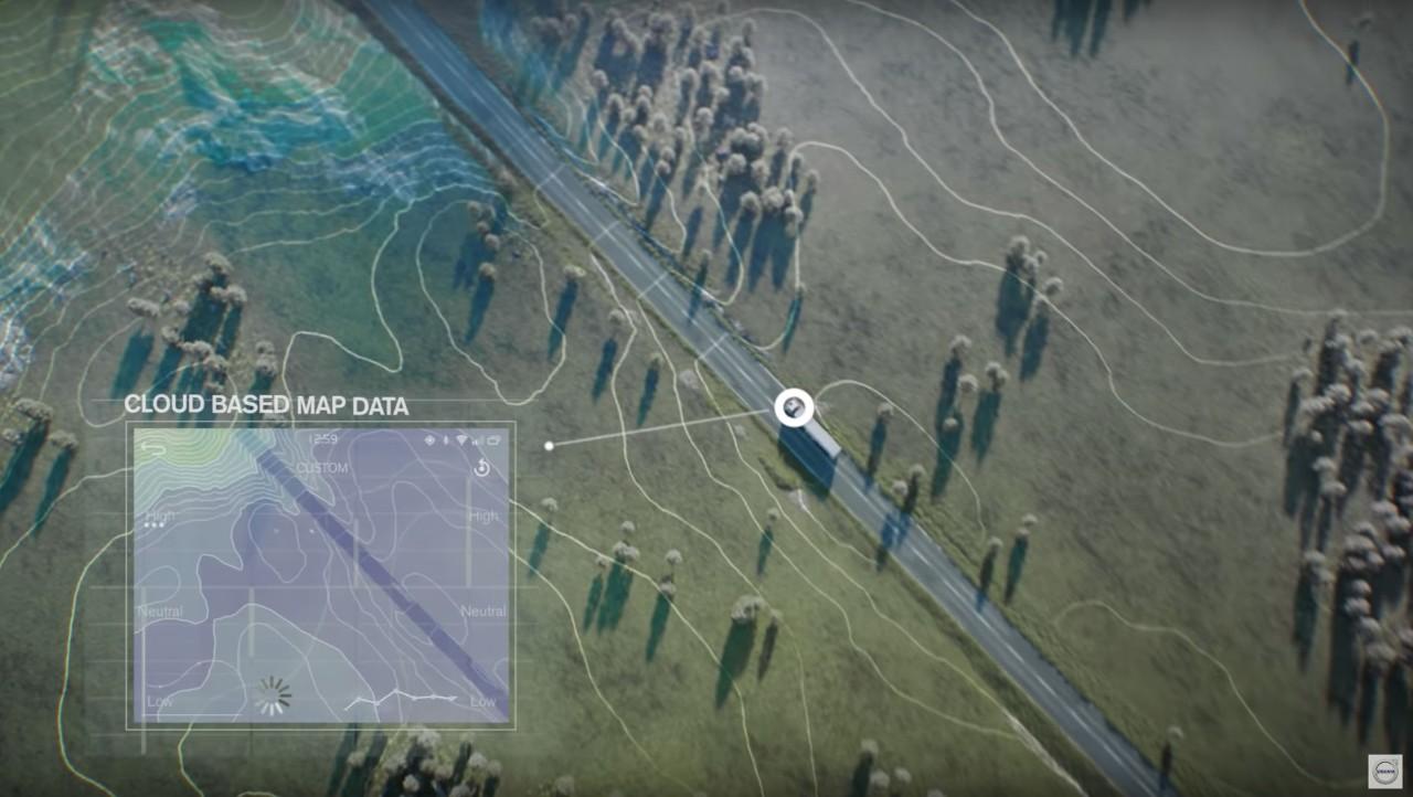 I-See analyseert kaartgegevens uit de cloud over de topografie van het te rijden traject.